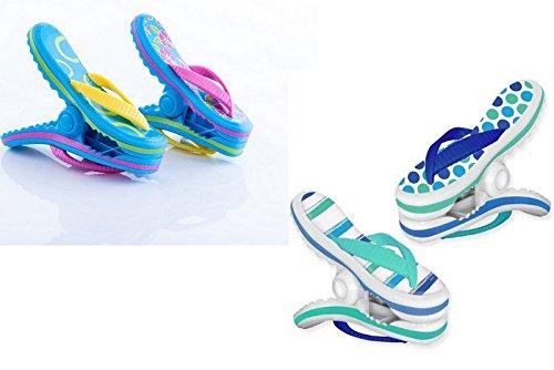 Boca Clips Strandtuch-Klammern–2Paar Flip Flops–blaue Streifen und rosa Blumen