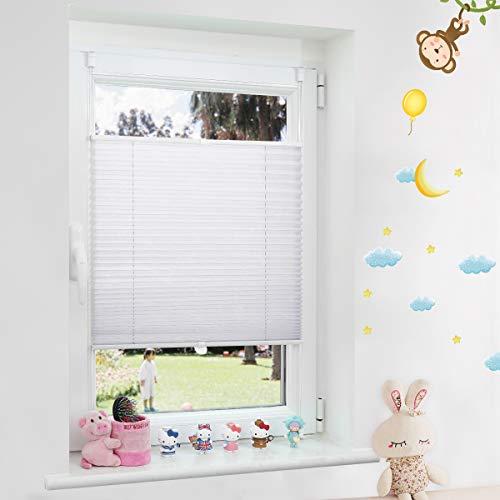 Grandekor Plissee Klemmfix lichtdurchlässig Kinderzimmer, Plisseerollo Jalousien ohne Bohren Sichtschutz & Sonnenschutz Schlafzimmer für Fenster & Tür - 85x120cm (BxH) Weiß