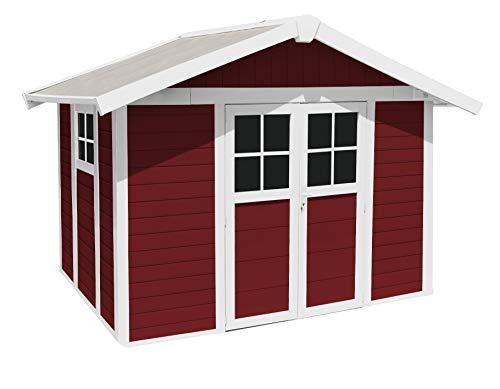 Ondis24 Gartenhaus Deco 3,15 x 2,39 m, Gerätehaus Kunststoff/Metall rot, Fahrradschuppen mit Satteldach, Geräteschuppen Outdoor, PVC Paneele, Doppeltür