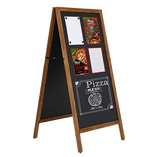DISPLAY SALES Kundenstopper Holz Economy 67 x 145 cm wetterfest, Aufsteller aus dunklem Buchenholz, magnetische Kreidetafel