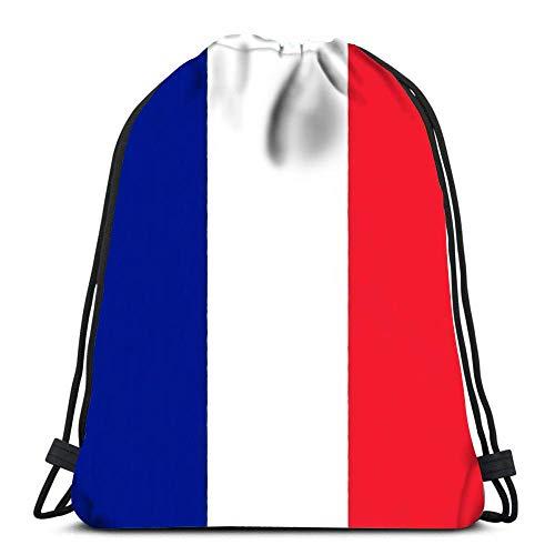 Kordelzug Rucksack Taschen Französische Flagge Zeichnung von Pastell auf Kohlepapier Sport Storage Polyester Tasche für Fitnessstudio