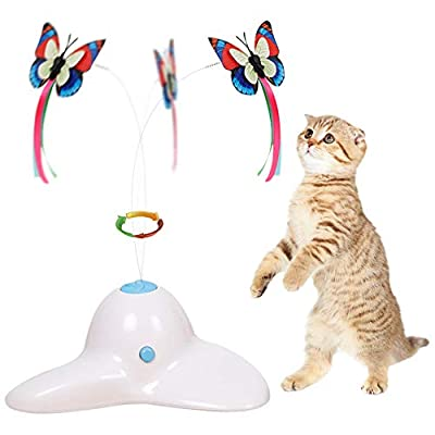 Flurff Zenes Cat Toys, Funny Exercise Electric Flutter Rotating Kitten Toys, Cat Teaser with Butterfly Replacement by Zenes