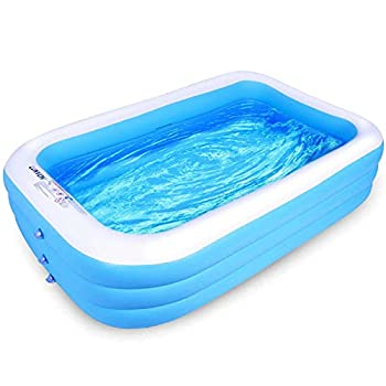 Lunvon Family Inflatable Swimming Pool 120  X 72  X 22  Full-Sized Above Ground Rectangle Lounge Pool for Kiddie Kid Adult Toddler Age 6+ Adults Outdoor Garden Backyard Summer Water Party Sky Blue