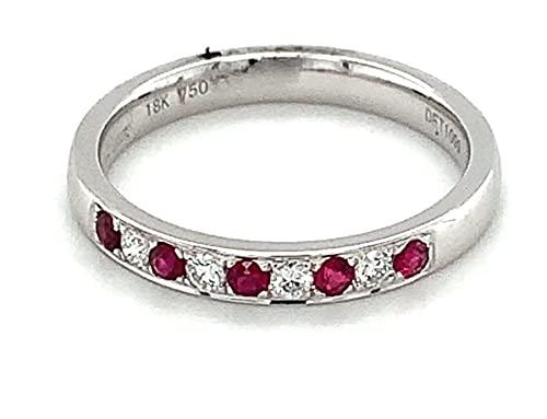Anillo de eternidad con diamantes y rubí engastado en oro blanco de 18 quilates, peso total de 0,26 quilates