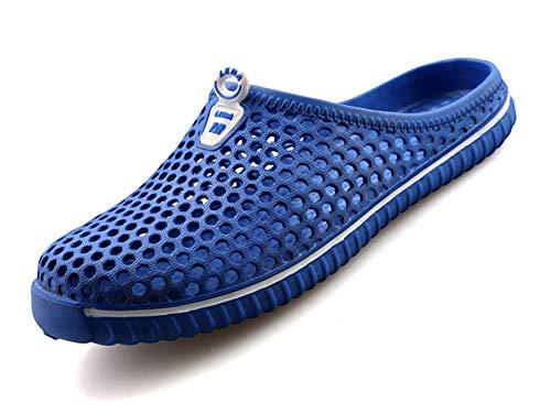 Clogs Hausschuhe Damen Herren Strand Sandale Sommer Outdoor Flach Pantoletten Freizeitschuhen Tiefes Blau Gr.37