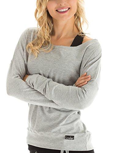WINSHAPE Damen Longsleeve Freizeit Sport Dance Fitness Langarmshirt, grey-melange, XS