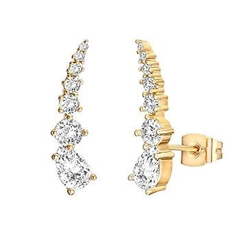 PAVOI 14K Gold Plated Sterling Silver Post Cubic Zirconia Ear Crawler Earrings - Faux Diamond Arrow Ear Climber Fashion Earrings in Yellow Gold
