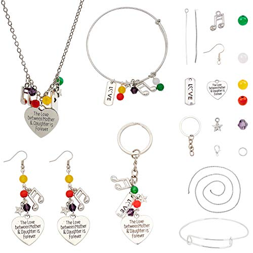 SUNNYCLUE 4 Style Mother's Day Jewelry Making Kits Alloy Pendants with Lobster Clasps & Brass Earring Hooks & Gemstone Glass Beads for DIY Making Bracelets Necklaces and Keychains
