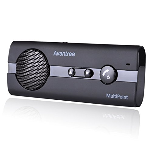 Avantree 10BP MULTIPOINT Hands Free Bluetooth for Cell Phone Car Kit, Loud Speakerphone, Support GPS, Music, Wireless in Car Handsfree Speaker with Visor Clip, Compatible with iPhone, Samsung - Black