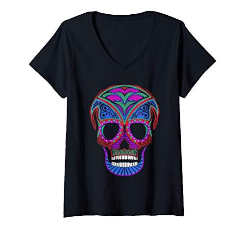 Mujer Disfraz de calavera decorada de colores para Halloween, Camiseta Cuello V