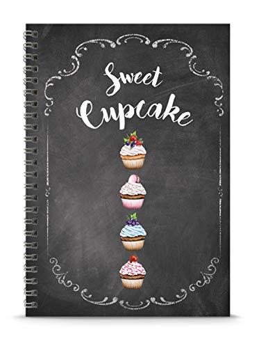 Rezeptbuch zum Selberschreiben BACKBUCH SWEET CUPCAKE KREIDETAFEL LOOK mit Muffins Topping Erdbeere • liniert DIN A5 Spiralgebunden • INHALTSVERZEICHNIS & SEITENNUMMERIERUNG DESIGN BY fioniony®