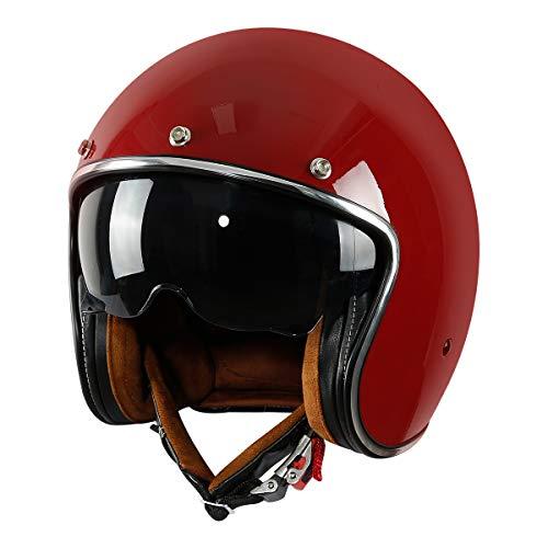 XFMT DOT Retro Style Motorcycle Open Face 3/4 Helmet with Sun Visor for Chopper Scooter Cruiser (Gloss Red, Large)