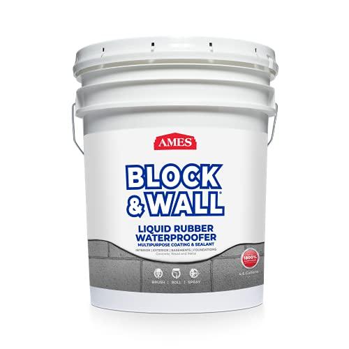 AMES BWRF5 Water Base High Strength Elastomeric Liquid Rubber, 5 Gallon White