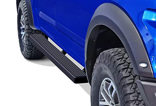 APS iBoard Running Boards 4in Black Custom Fit 2015-2020 Ford F150 SuperCrew Cab Pickup 4-Door & 2017-2020 Ford F-250 F-350 SuperCrew Crew Cab (Nerf Bars Side Steps Side Bars)