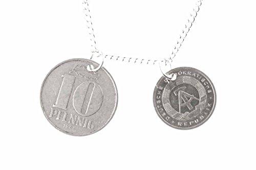 Miniblings DDR 1+10 Pfennig 2er Kette Halskette Ostalgie Münzen Geld 60cm neu