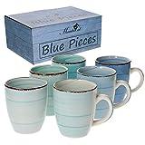 MamboCat 6-TLG. Kaffeebecherset Blue Baita Blautöne 350 ml Steingut-Tassen rund Trink-Becher für...