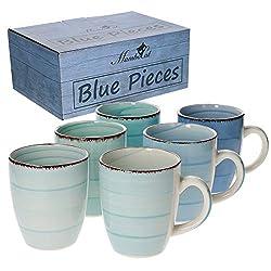 MamboCat 6-TLG. Kaffeebecherset Blue Baita Blautöne 350 ml Steingut-Tassen rund Trink-Becher für Heiß-Getränke Tee-Pott abstraktes Strudel-Dekor Geschirr