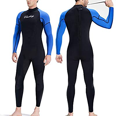 CtriLady Wetsuit, Mens 1.5mm Neoprene Full Wetsuit, Long Sleeve Diving Suits with Back Zipper UV Protection Full Body Wetsuit for Swimming Diving Surfing Kayaking Snorkeling(XL,Black)