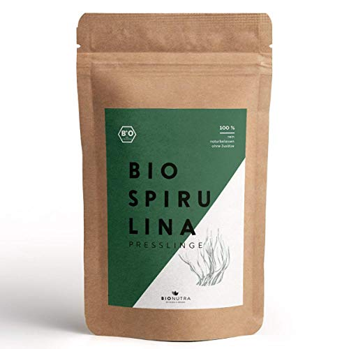 BioNutra® Spirulina-Presslinge Bio 1000 x 250 mg Tabletten, 100{e6d39e9908dc5307e151b9e910106455148caafe50b1a3f0b072cff8e79e2f38} rein & natürlich, rückstandskontrolliert, nach EU-ÖKO-Standard kultiviert und hergestellt, 250 g Großpackung