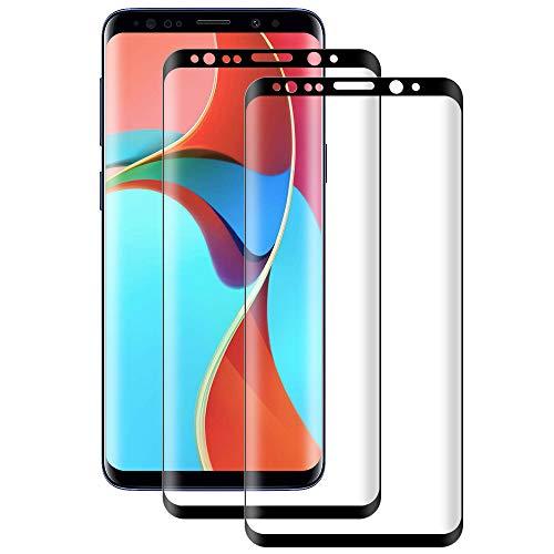 DOSMUNG Cristal Templado para Samsung Galaxy S9 Plus, [2 Pack] Vidrio Templado de Samsung S9 Plus, Cobertura Completa/Dureza 9H/3D Curvado/Anti Arañazos Protector de Pantalla para Galaxy S9 Plus