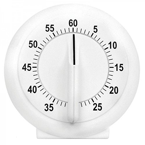 Chef Valley Kitchen Timer 60 Minute - Mechanical Timing - Loud Alarm - for Cooking, Baking, Gym, Homework, or Office Meetings (White)