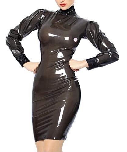 Lenceria de cueroNuevo estilo de moda Vestido de látex Sexy Látex Transparente Negro Hasta la rodilla Faldas Volver Zip-Orange_XXL