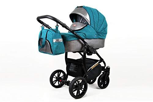 Lux4Kids Kinderwagen BlackOne 3in1 2in1 Megaset Buggy Autositz Babyschale Sportsitz Sea Blue 2in1 ohne Autositz
