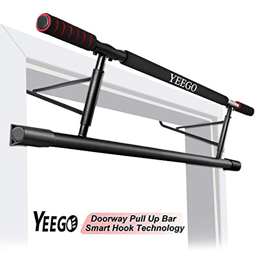2019 Pull Up Bar Doorway No Crews, YEEGO USA Original Patent, USA Designed, USA Warranty Smart Hook Technology Home Exercise (Red)