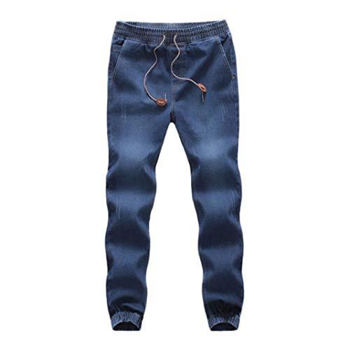 KPILP Männer Casual Kordelzug Denim Große Größe Baumwolle Herbst Winter Elastische Kordelzug Arbeit Arbeitshose Jeans Hosen(Dunkelblau, 4XL)