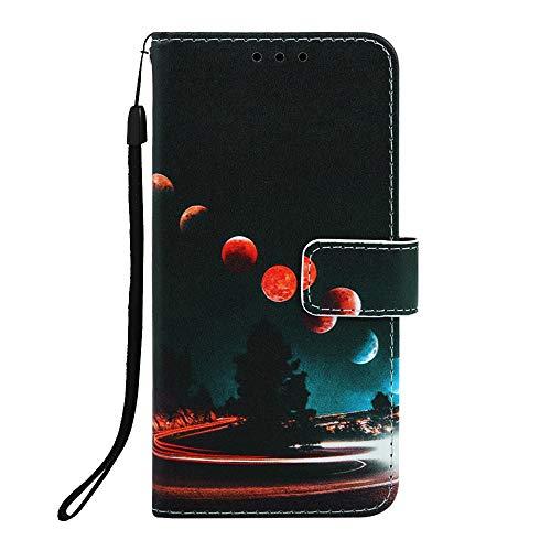 Phcases Für Samsung Galaxy A20e/A10e Hülle Case Malen Leder Tasche Handyhülle Flip Cover Skin Standfunktion Schale Stoßdämpfend Bumper Magnetverschluss Brieftasche Schutzhülle-Planet.