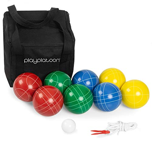 Play Platoon Bocce Ball Set with 8 Premium Resin Bocce Balls, Pallino,...