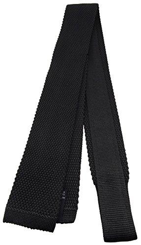 Blick. elementum - hochwertige Strickkrawatte in schwarz einfarbig Uni - Krawatte 100% Seide