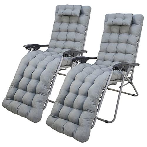 Arcoiris Lot de 2 coussins pour chaise longue de jardin, matelas matelassé, coussin pour siège avec dossier haut pour extérieur 150 x 50 x 10 cm, gris
