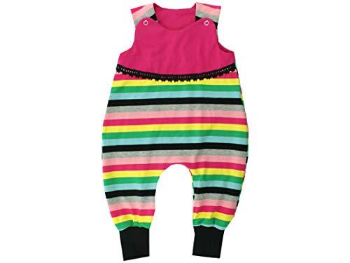 Kleine koningen baby romper meisje baby body · model strepen kleurrijke Happy Girl met kant, zwart · Ökotex 100 gecertificeerd · maten 50-92