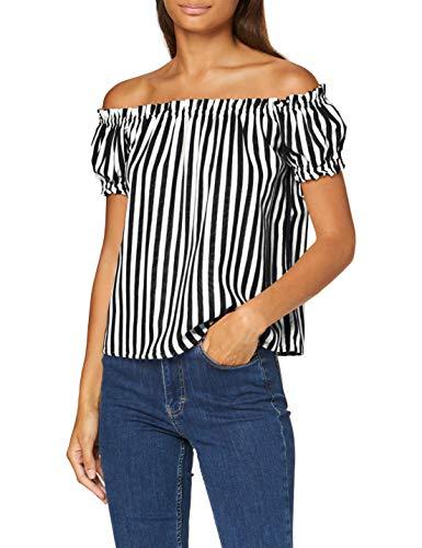 VERO MODA Damen VMHELENMILO Off Shoulder TOP Stripe WVN Bluse, Black, XL