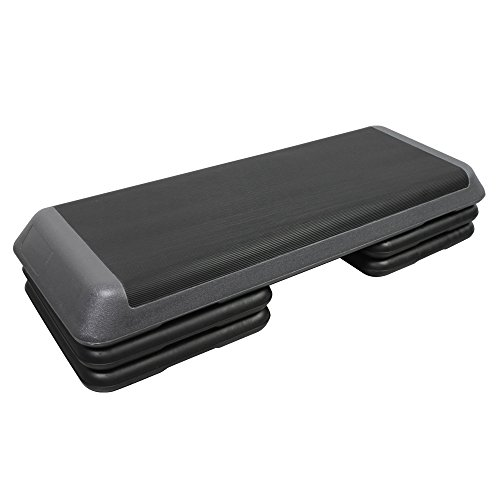 PRISP Professional Aerobic Stepper, 3 Levels (4/6 / 8 in - 10/15 / 20 cm), Large Adjustable Exercise Step Platform; 110 x 42 cm