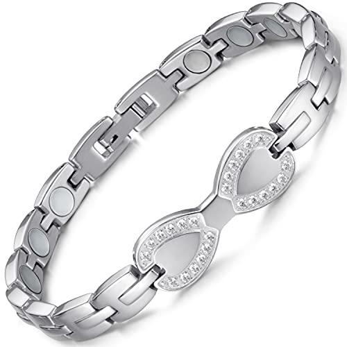 RainSo Elegant Frauen Edelstahl Gesundheit Magnetische Therapie Armband, Weibliche Gesundheit Magnetische Therapie Armband, Edelstahl Health Magnetic Therapie Armband (Silber)