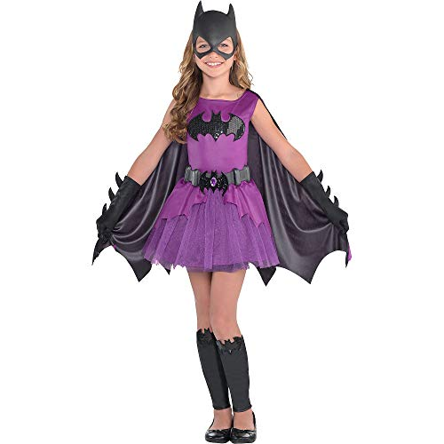 Suit Yourself Purple Batgirl Halloween Costume for Girls, Batman, Small, Includes Dress, Cape, Mask, and More
