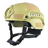 Casco de protección Airsoft, casco táctico militar versión MICH 2001 | Protección de cabeza unisex Airsoft Gear Paintball con soporte NVG y guías laterales para juegos CS al aire libre