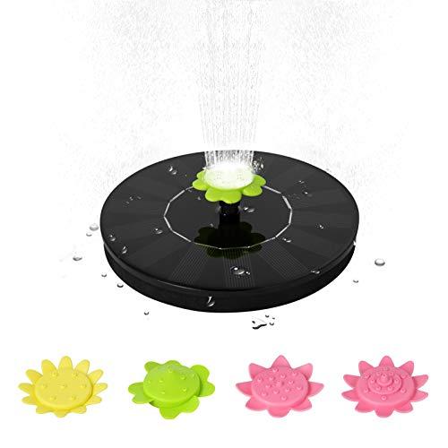 Decdeal Fuente solar de 7 V 1,4 W con energía solar, fuente flotante, fuente de pie al aire libre, sin escobillas, bomba de agua para piscina, estanque, jardín, patio, con 5 boquillas tipo flor