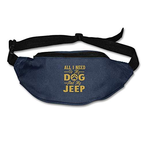 NJIASGFUI Sac Banane pour Homme et Femme All I Need is My Dog and My Jeep Sac Banane de Voyage pour Course à Pied, Cyclisme, randonnée, entraînement