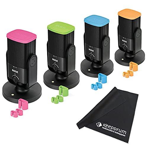 Rode NT-USB - Set di 4 microfoni per podcast + tag a colori + panno in microfibra Keepdrum