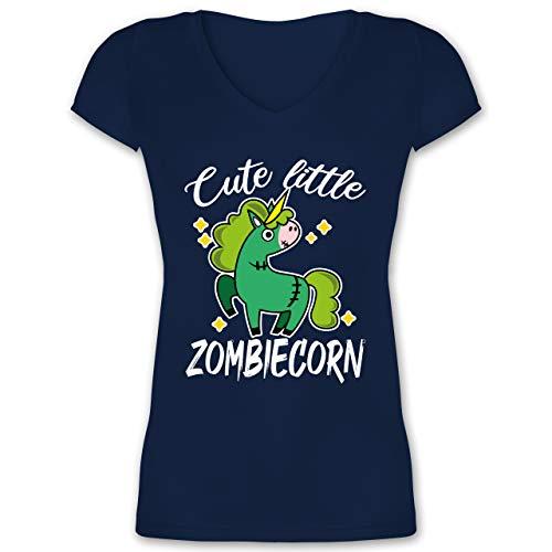 Halloween - Cute Little Zombiecorn - weiß - 3XL - Dunkelblau - Zombies - XO1525 - Damen T-Shirt mit V-Ausschnitt