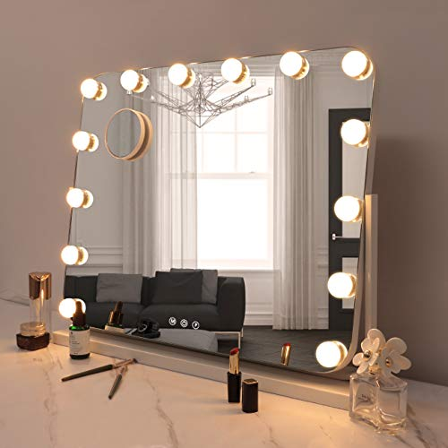 Hollywood Makeup Mirror with Lights 3 Color Lighted Mirror,360° Rotation, Rounded Corners Cosmetic Mirror with 14 Dimmable Bulbs 10X Detachable Magnification