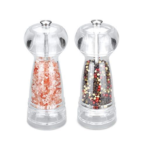 Molinillo de sal y pimienta Set de 2 molinillos de cermica transparente Tritan cuerpo Molinillo de sal de cermica ajustable para sal del Himalaya, molinillo de pimienta