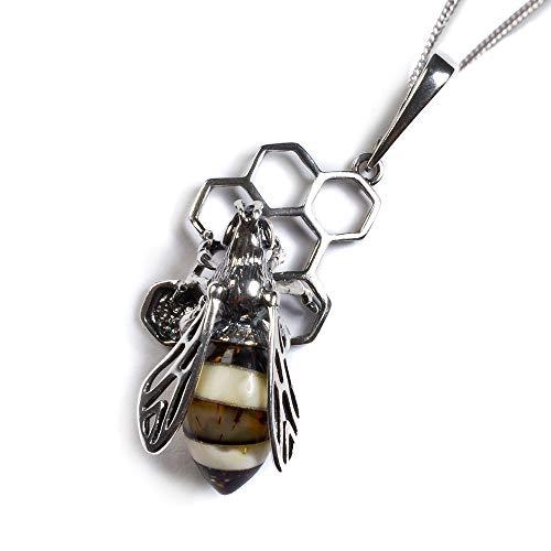 Biene auf Waben - klassischer silberner Anhänger mit baltischem Bernstein an einer 42 cm Silberkette