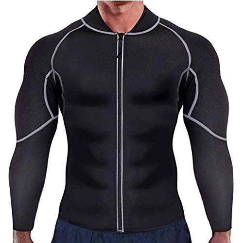 Męski Kombinezon do Sauny Treningowy Bluza Neoprenowa Kurtka z Zamkiem Wyszczuplający Model do Sylwetki z Długim Rękawem (Color : Black, Size : Small)