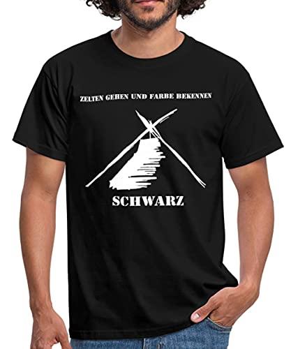 Kothe Schwarz Zelten Gehen und Farbe Bekennen Männer T-Shirt, XL, Schwarz