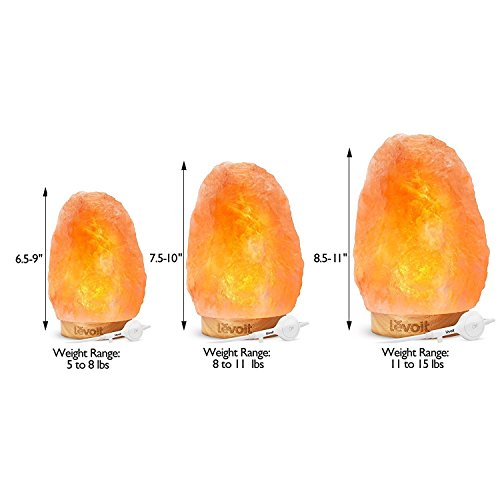 Levoit Kana Himalayan/Hymilain Sea, Pink Crystal Salt Rock Lamp, Night Light, Real Rubber Wood Base, Dimmable Touch Switch, Holiday Gift (ETL Certified, 2 Extra Bulbs),