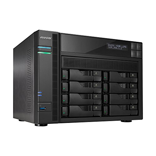 Asustor AS6208T | Network Attached Storage + Free exFAT License | 1.6GHz Quad-Core, 4GB RAM | Personal Private Cloud | Home or Business Data Media Server (8 Bay Diskless NAS)